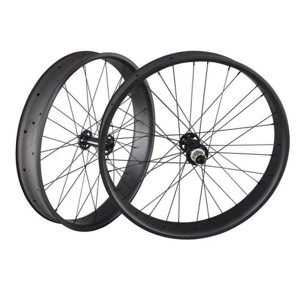 Cheap 32 Holes UD Finish Carbon Fat Wheels 26 Inch Presta Valve 90mm Width Thru Axle for sale