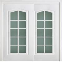 Best Corridor Wooden Sliding Doors Frosted Glass White Lacquered Thickness 45mm 40mm wholesale