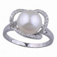 Best 925 Silver natural pearl jewelry CZ ring wholesale