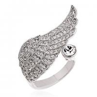 Best Unique Highly Polished 316L Stainless Steel Crystal Angel Wing Cocktail Ring for Unisex wholesale