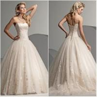 China Lace up Back Strapless Neckline Appliqued Satin Wedding Dress (WD-022) on sale