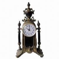 Best Traditional Polyresin Table Clock in Antique Brown Finish, Measures 18 x 10 x 34cm wholesale