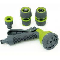 China Plastic 8-pattern garden hose nozzle set with connector on sale