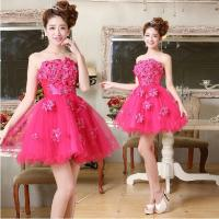 Best Fuchsia Flower Strapless Tulle Short Prom Dress 2014 Lace-up or Zipper Closure Above Knee Girls Ball Gown wholesale