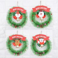 China Christmas Wreath Garland Santa Clause Snowman Door wall Hanging Ornament for Home Decoration on sale