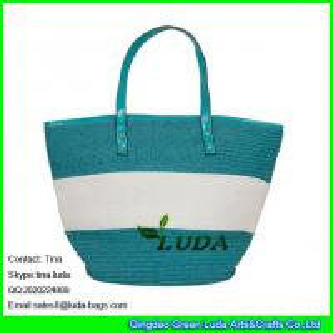 LUDA 2016 summer striped tote bag fashion handmade storage basket with handles