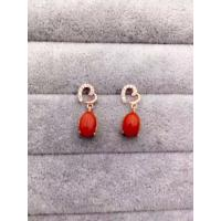 China Handmade Heart Shape Sterling Silver Earrings Post With Red Corallite Charms on sale