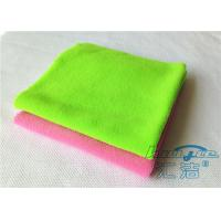 Cheap Durable Green Microfiber Cleaning Cloth 100% Polyester , Endless Edge for sale