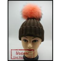 Best Classic Style Real Big Cut Raccoon Fur Pom Pom Knitted Beanie Hat wholesale