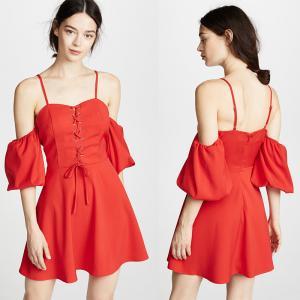 China 2018 Women Clothing Mini Red Puff Sleeve Summer Boho Dress For Women on sale