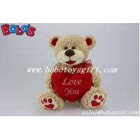 Best Valentine Teddy Bears With Red Heart Pillow and Embroidery Paw wholesale