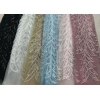 Best Blue Shiny Embroidered Leaf Lace Fabric With Beads And Sequins 120CM Width wholesale