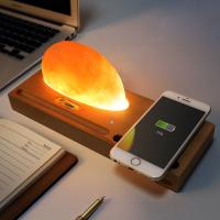 Best Beech Wireless Qi Charger Mineral Rock LED lamp Wireless Charging Pad for Smartphone wholesale