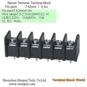 Barrier Terminal Block High Power Automotive Terminal Block Connector/Socket pitch 7.62mm