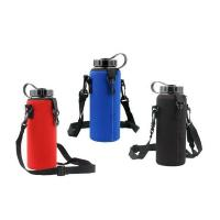 Best 1000ml Custom neoprene water bottle holder with adjustable shoulder strap.size is 22cm*8cm, SBR material. wholesale