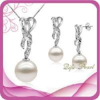 Best 925 Silver Jewellery Set With Freshwater Pearl and CZ (ST807004) wholesale
