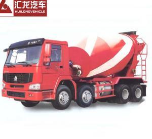 China Self Loading Mobile Concrete Mixer Truck , Red Color Cement Concrete Mixer on sale
