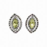 Best Alloy Stud Earrings with Rhodium Plating and Crystal wholesale