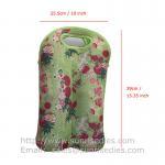 4.5mm Floral Print Neoprene Wine Bottle Tote, 2-Bottle Insulated Wine Sleeve