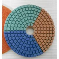 China Tripple Color Wet Diamond Polishing Pads For Concrete / Marble 3-5 Inches on sale