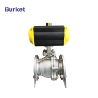 "Best 3/4""-8"" Pn16 2 Way Stainless Steel PTFE Flanged Connection Pneumatic Actuated Ball Valve wholesale"