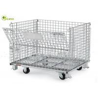 China Heavy Duty Stacking Wire Container Storage Cages Turnover Box For Warehouse on sale