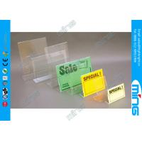 Best Customized Slant Back Clear Acrylic Display Stands , Supermarket Sign Holder wholesale