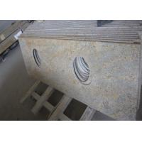 Best Modern Kashmir Gold Granite Countertop , Two Sinks Hotel Granite Bathroom Worktops wholesale