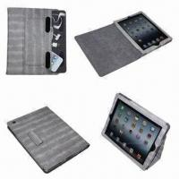 China Jean Verns Leather Cases for New iPad 3G with Stand, Backup Holder for Earphone or Other Accessories on sale