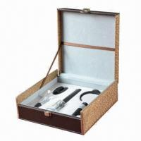 China 5-piece ABS Air Pressure Wine Opener Set with Deluxe Brown Leather Box Pack on sale