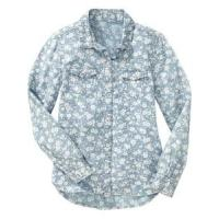 China Children's shirt » Girls' Long Sleeve Floral Chambray Button-Front Cotton Shirts on sale