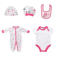 Best 5PCS / Set Footed Rompers Baby 100 Cotton Baby Clothes Gift Set With Hat wholesale