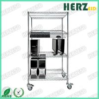 Best Anti Static Stainless Steel Rack With Wheels / 4 Layers Chrome Plated Wire Shelves wholesale