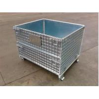 China Space Saving Warehouse Equipments Wire Container Storage Cages With Blue Plastic Board on sale