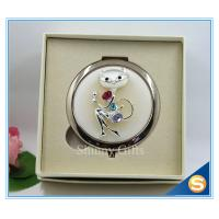 China Shinny Gifts High-Grade Fox Design Makeup Mirror Crystal Round Cosmetic Mirror on sale