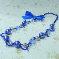 China factory direct sell blue pearl necklace costume jewelry on sale