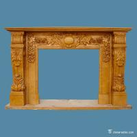 China Yellow Marble Stone Fireplace Surrounds European Style Corrosion Resistance on sale