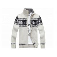 Best Autumn Stand Collar Long Sleeve  Zip With Knitted Jacquard Cardigan Mens Sweater wholesale
