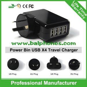 UK,EU,US,AU Plug 4 port mobile phone charger 4 Port USB Travel charger