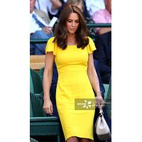 Best Kate Middleton Same Yellow One Step Dress Lotus Leaf Short Sleeves Celebrities High Quality Elegant Falbala Dress For F wholesale