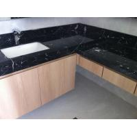 China Nero Marquan Rectangle Sink Marble Slab Countertop For Kitchen Eased Edge on sale