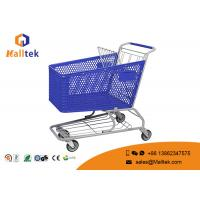 China Commercial Colorful Shopping Basket Trolley Semi Plastic Powder Coating Surface on sale