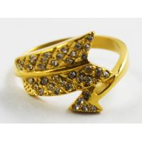 China Factory direct wholesale 316l stainles steel gold plated feather sword crystal ring on sale