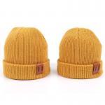 Best Leather Patch Knit Beanie Hats Custom Design Warm Hat Cap Yellow Beanie Hats wholesale