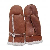 Best Bilberry Cheap Patched Sheepskin Lamb Fur Mittens with Belt for lady brown color wholesale