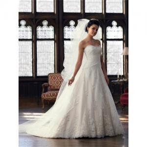Custom-made strapless applique wedding dress bridal gown W3584
