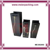 China Wholesale multiple size black texture paper single wine bottle carried bag with hot stamping logo on sale