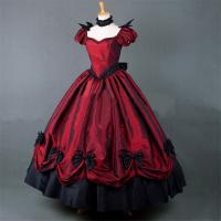 Best Medieval Dress Wholesale XXS to XXXL Custom Made Red Puff Sleeves ROCOCO Ball Gown Gothic Medieval Victorian Dress wholesale
