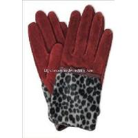 China Ladies Fashion Pig Suede Leather Gloves with Leopard Print (CF2024) on sale