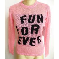 Best Pink Big Belly Yarn Womens Long Sweaters With Front Black Wording wholesale